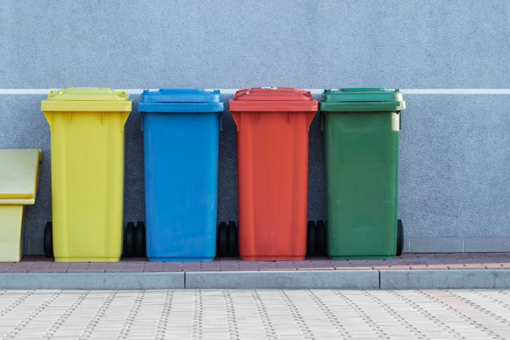 4 coloured recycling wheelie bins