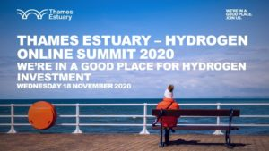 Thames Estuary Hydrogen Online Summit 18 November 2020 web banner with woman in wooly hat looking out across blue sea